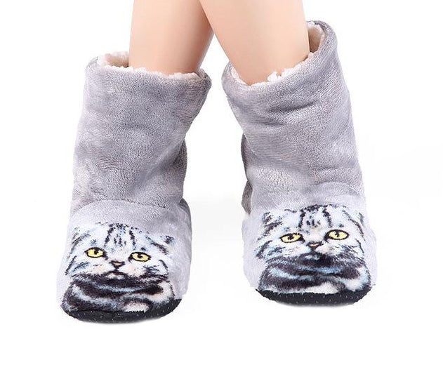 3D Cat Print Boot Style Slippers Grey / 39 | CatToyz.com | Shop Cat Toys, Clothes, and Grooming Supplies