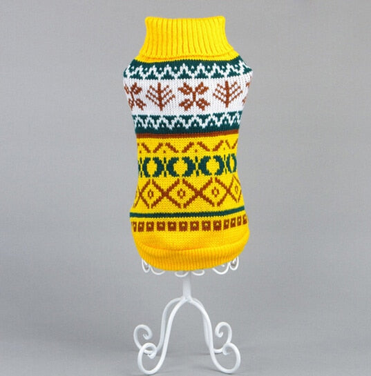 Knitted Winter Cat Sweater with Snowflake Pattern Yellow / XS | CatToyz.com | Shop Cat Toys, Clothes, and Grooming Supplies