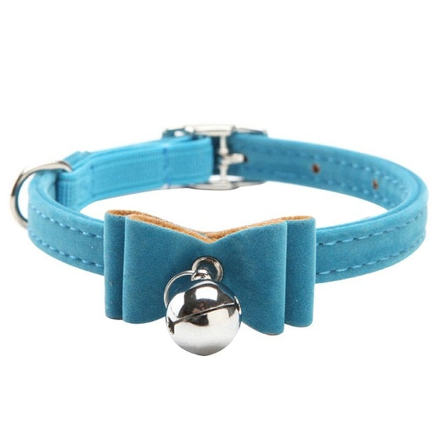 Fashionable Velvet Bow Tie Cat Collar with Bell Blue / One Size | CatToyz.com | Shop Cat Toys, Clothes, and Grooming Supplies