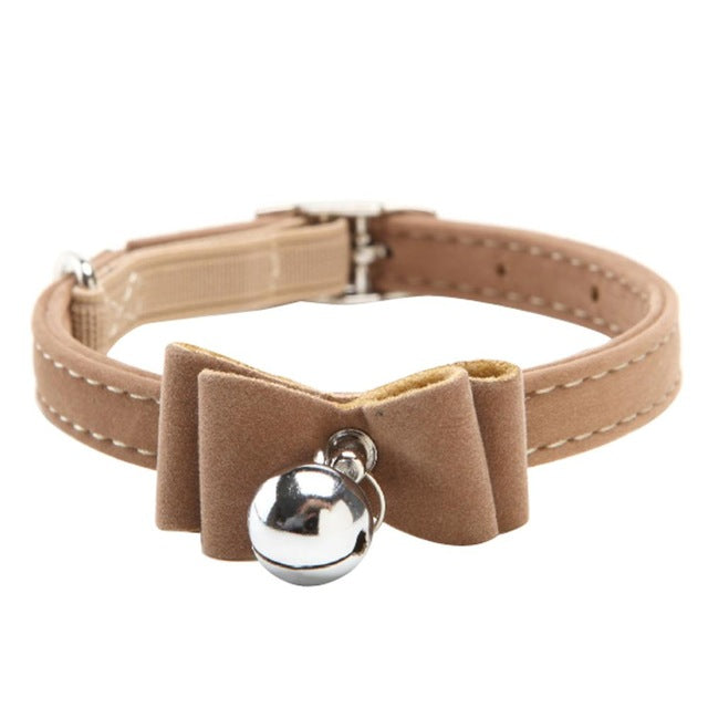 Fashionable Velvet Bow Tie Cat Collar with Bell Brown / One Size | CatToyz.com | Shop Cat Toys, Clothes, and Grooming Supplies