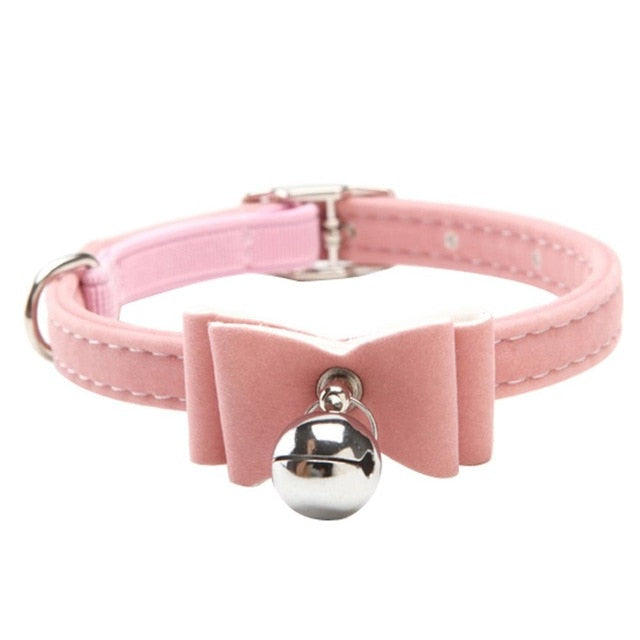 Fashionable Velvet Bow Tie Cat Collar with Bell Pink / One Size | CatToyz.com | Shop Cat Toys, Clothes, and Grooming Supplies