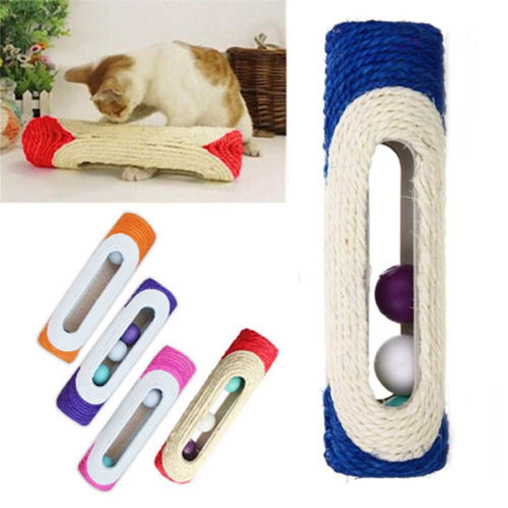 Rolling Sisal Cat Scratching Post with Trapped Balls  | CatToyz.com | Shop Cat Toys, Clothes, and Grooming Supplies