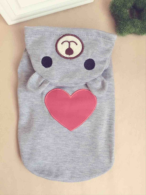 Cute Cat Hoodie with Heart in Grey or White Grey / L | CatToyz.com | Shop Cat Toys, Clothes, and Grooming Supplies
