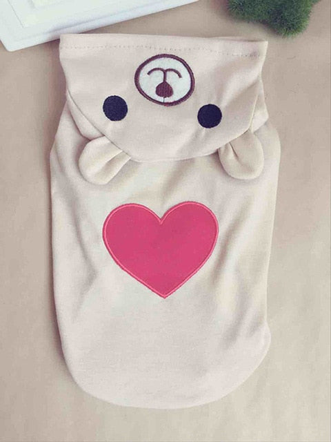 Cute Cat Hoodie with Heart in Grey or White Light / L | CatToyz.com | Shop Cat Toys, Clothes, and Grooming Supplies