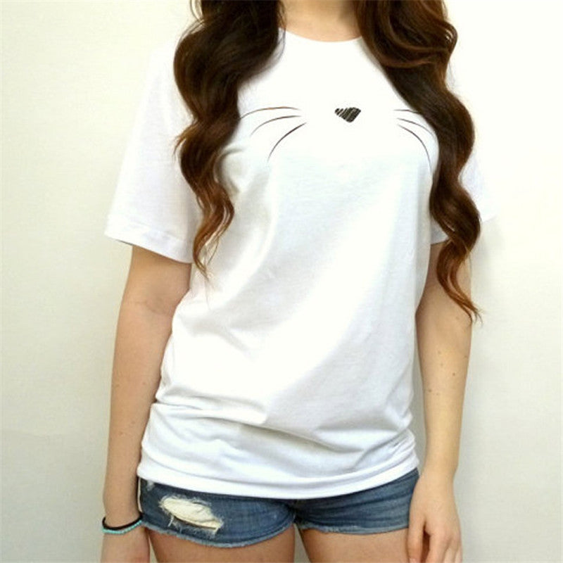 Cute Woman's Cat Face T-Shirt  | CatToyz.com | Shop Cat Toys, Clothes, and Grooming Supplies