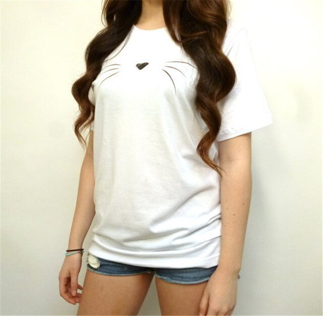 Cute Woman's Cat Face T-Shirt White / S | CatToyz.com | Shop Cat Toys, Clothes, and Grooming Supplies