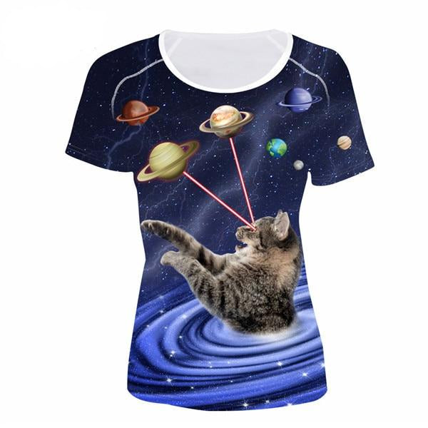 Women's Novelty 3D Cat Print T-Shirts! CC5219BV / S | CatToyz.com | Shop Cat Toys, Clothes, and Grooming Supplies