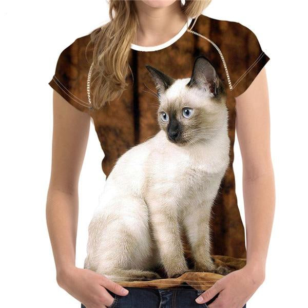 Women's Novelty 3D Cat Print T-Shirts! H8797BV / S | CatToyz.com | Shop Cat Toys, Clothes, and Grooming Supplies