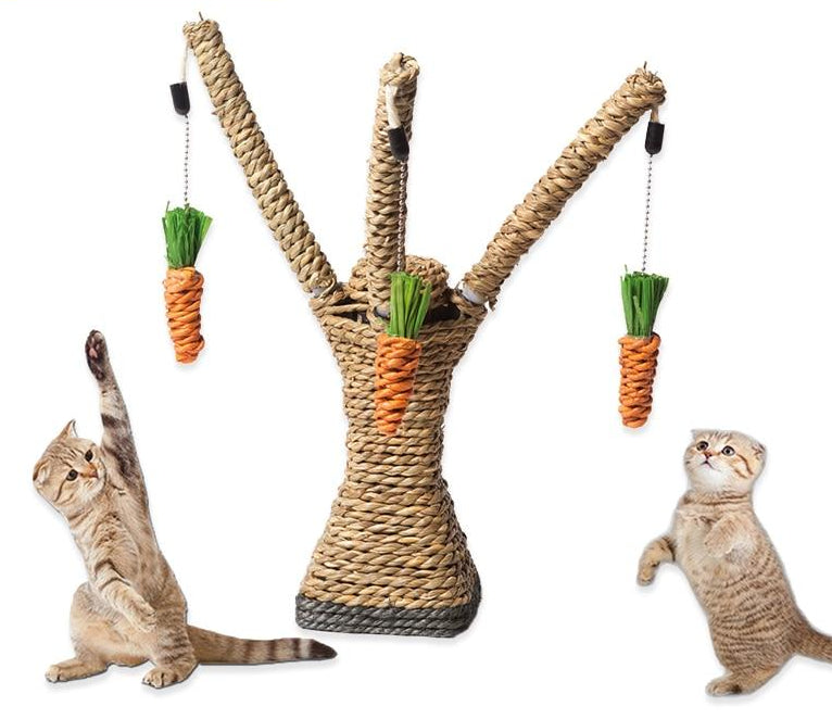 Tree Shaped Cat Scratching Post made of Sisal Rope with 3 Dangling Carrots to Swat!  | CatToyz.com | Shop Cat Toys, Clothes, and Grooming Supplies
