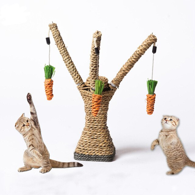 Tree Shaped Cat Scratching Post made of Sisal Rope with 3 Dangling Carrots to Swat! Default Title | CatToyz.com | Shop Cat Toys, Clothes, and Grooming Supplies