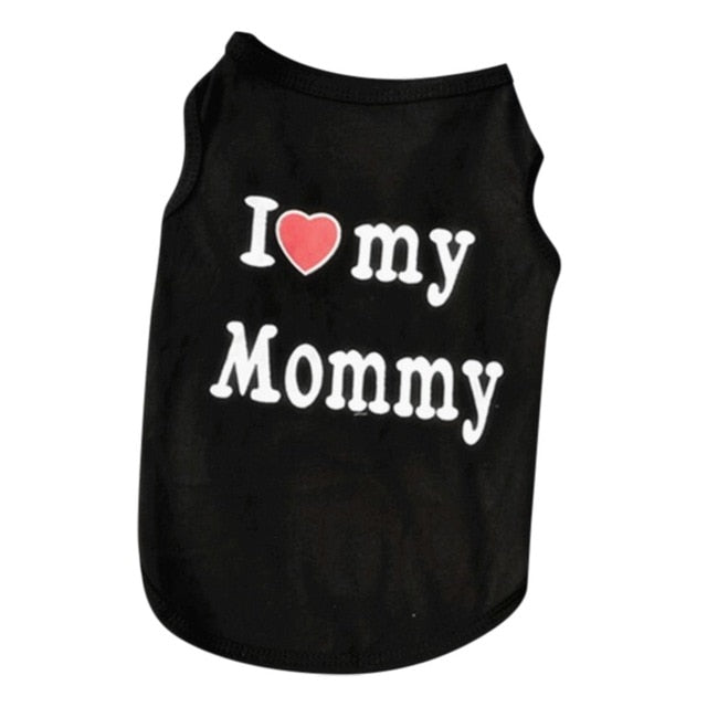 "Cute ""I <3 my Mommy"" and ""I <3 my Daddy Cat Shirt Black Mommy / L 