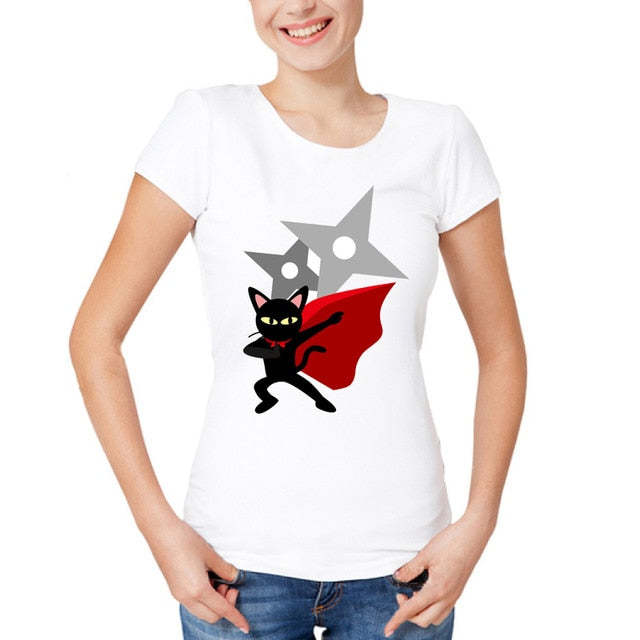 Performing Black Cat Caricature T-Shirts Red Cape / S | CatToyz.com | Shop Cat Toys, Clothes, and Grooming Supplies