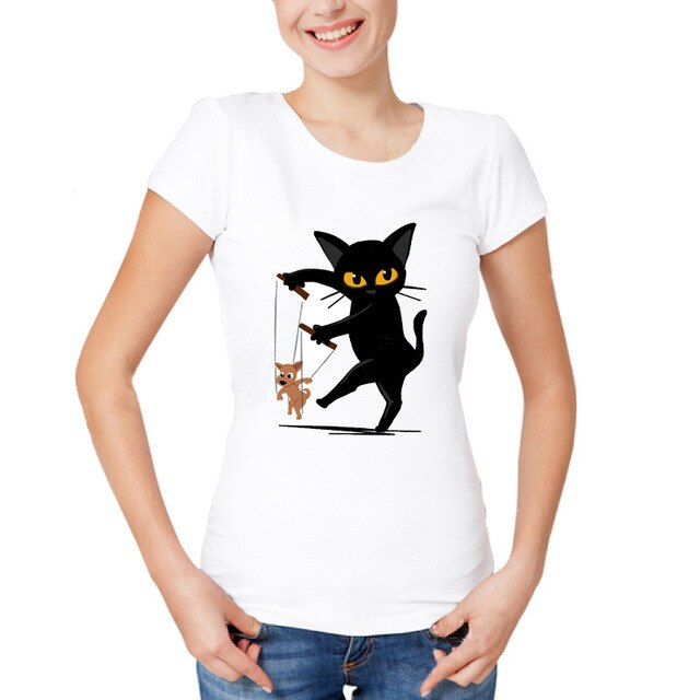 Performing Black Cat Caricature T-Shirts With Dog Puppet / S | CatToyz.com | Shop Cat Toys, Clothes, and Grooming Supplies