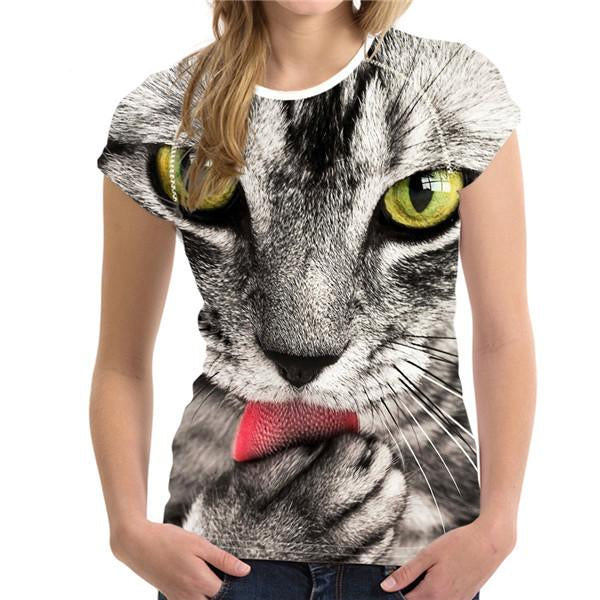 Women's Novelty 3D Cat Print T-Shirts!  | CatToyz.com | Shop Cat Toys, Clothes, and Grooming Supplies