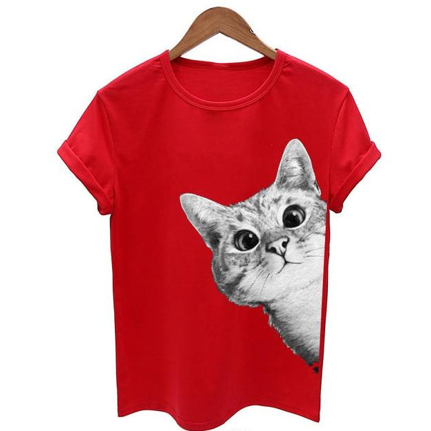 Peekaboo I See You 3D Cat Print T-Shirt Red / S | CatToyz.com | Shop Cat Toys, Clothes, and Grooming Supplies
