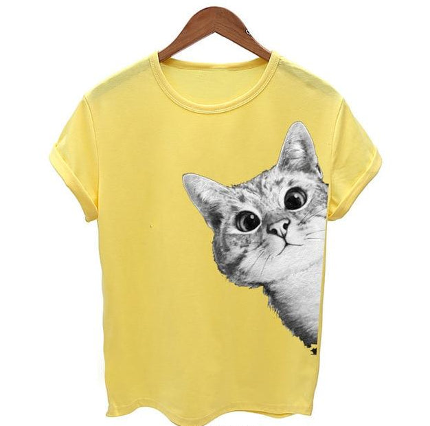 Peekaboo I See You 3D Cat Print T-Shirt Yellow / S | CatToyz.com | Shop Cat Toys, Clothes, and Grooming Supplies