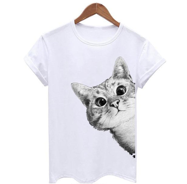 Peekaboo I See You 3D Cat Print T-Shirt White / S | CatToyz.com | Shop Cat Toys, Clothes, and Grooming Supplies