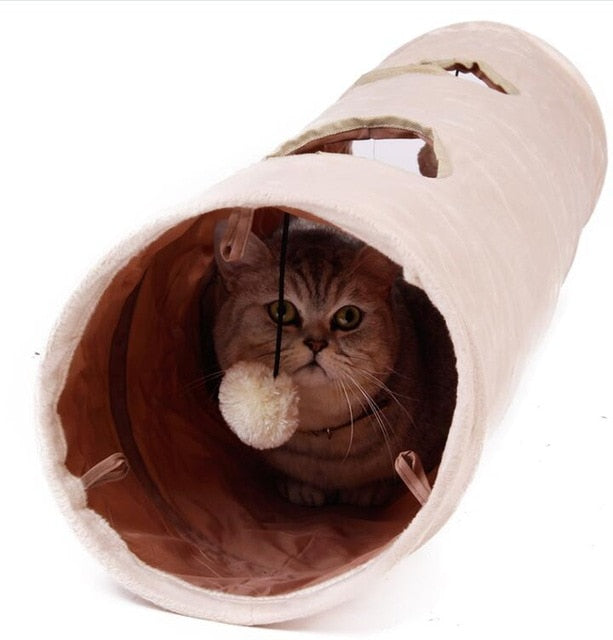 Long Collapsible Cat Tunnel 2 Holes With Ball Default Title | CatToyz.com | Shop Cat Toys, Clothes, and Grooming Supplies