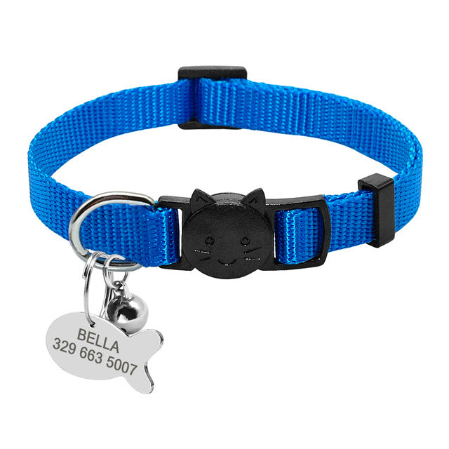 Safety Breakaway Cat Collars with Quick Release Plain Blue / neck for 20 to 31cm | CatToyz.com | Shop Cat Toys, Clothes, and Grooming Supplies