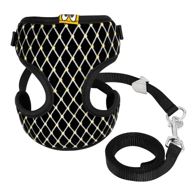 Cat Harness and Leash Set with Rhinestones Black / L | CatToyz.com | Shop Cat Toys, Clothes, and Grooming Supplies