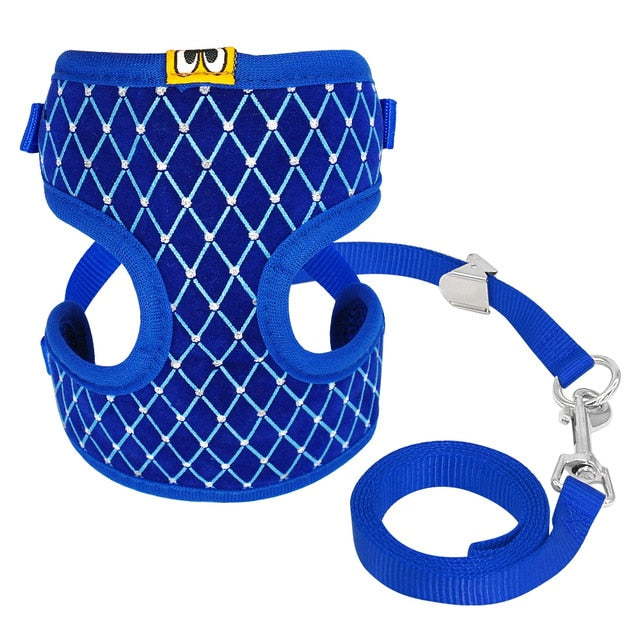 Cat Harness and Leash Set with Rhinestones Blue / L | CatToyz.com | Shop Cat Toys, Clothes, and Grooming Supplies