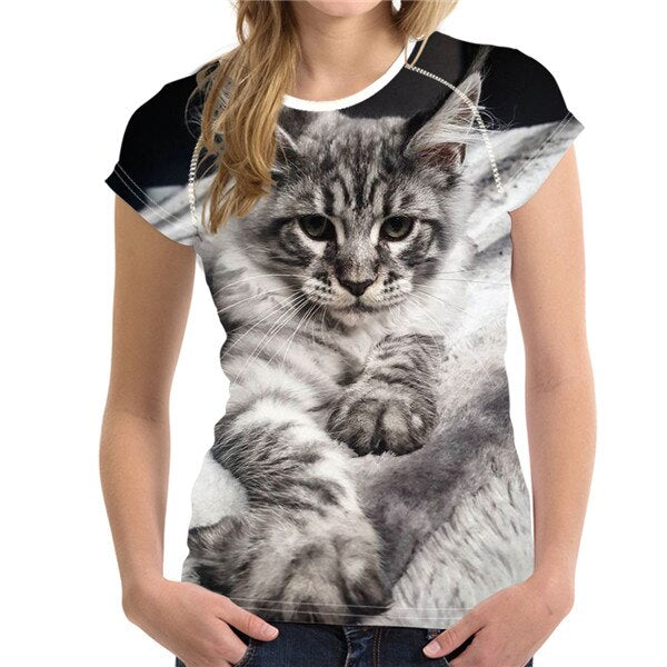 Short Sleeve Women's T-Shirt with Cat Print H9127BV / S | CatToyz.com | Shop Cat Toys, Clothes, and Grooming Supplies