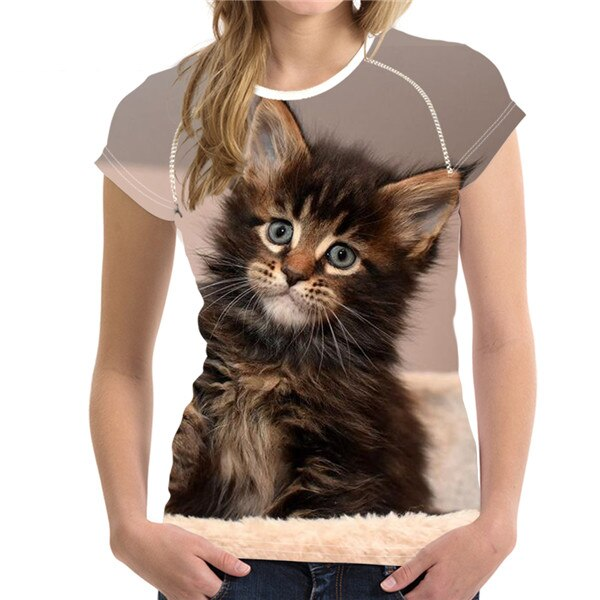 Short Sleeve Women's T-Shirt with Cat Print H9128BV / S | CatToyz.com | Shop Cat Toys, Clothes, and Grooming Supplies