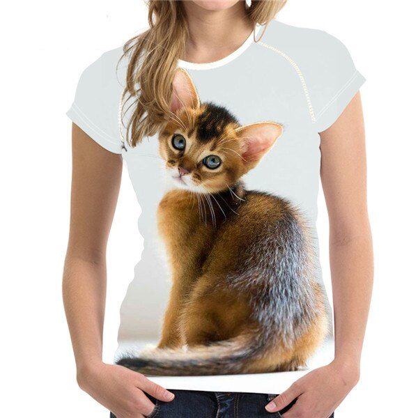 Short Sleeve Women's T-Shirt with Cat Print H9130BV / S | CatToyz.com | Shop Cat Toys, Clothes, and Grooming Supplies