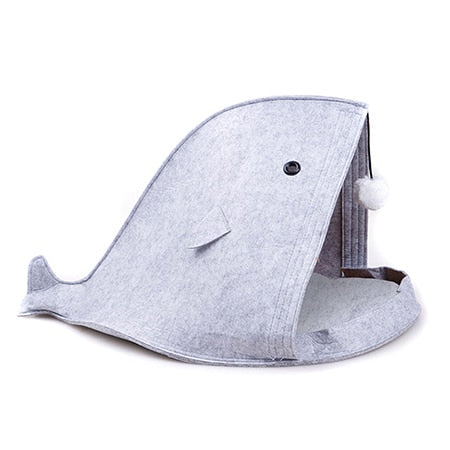Whale of a Tale Felt Cat Beds Gray / 50x40x40cm | CatToyz.com | Shop Cat Toys, Clothes, and Grooming Supplies