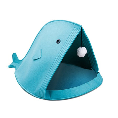 Whale of a Tale Felt Cat Beds Blue / 50x40x40cm | CatToyz.com | Shop Cat Toys, Clothes, and Grooming Supplies