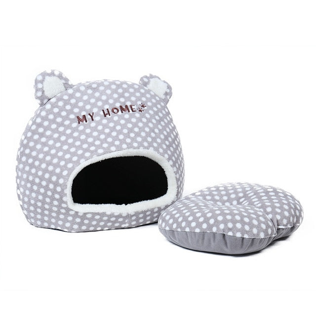 """My Home Zzz"" Warm Cat House with Removable Cushion gray / L / China 