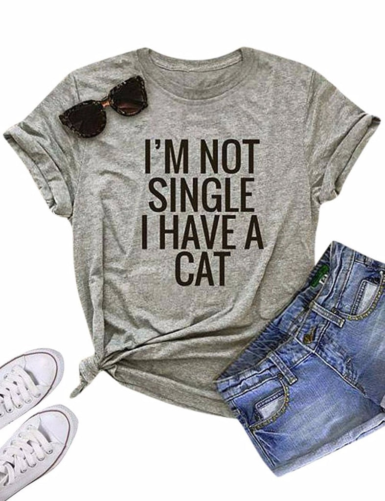 "Cute ""I'M NOT SINGLE I HAVE A CAT"" T-Shirt Gray-black txt / S 