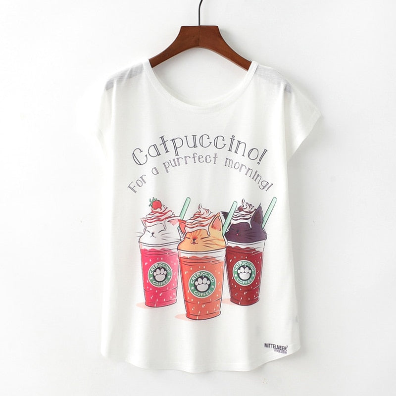 CATPUCCINO! FOR A PURRFECT MORNING! Women's T-shirt TP994 / L | CatToyz.com | Shop Cat Toys, Clothes, and Grooming Supplies