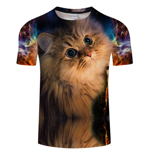 Funny Galaxy 3D Cat Printed T-shirts Gaze / S | CatToyz.com | Shop Cat Toys, Clothes, and Grooming Supplies
