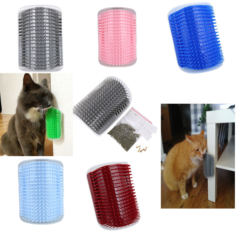 1-Self Massaging Brush Attaches Easily to a Corner  | CatToyz.com | Shop Cat Toys, Clothes, and Grooming Supplies