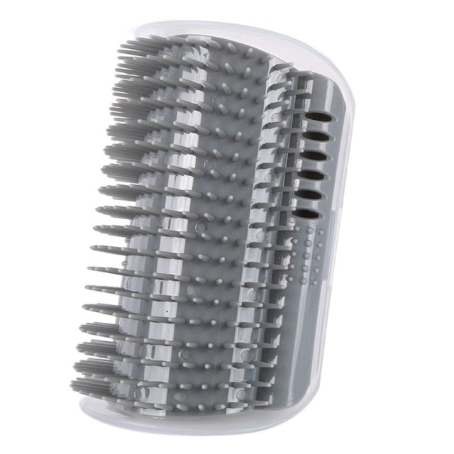 1-Self Massaging Brush Attaches Easily to a Corner Gray / M | CatToyz.com | Shop Cat Toys, Clothes, and Grooming Supplies