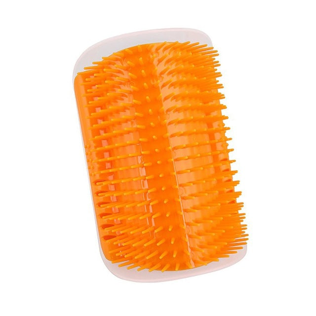 1-Self Massaging Brush Attaches Easily to a Corner Gold / M | CatToyz.com | Shop Cat Toys, Clothes, and Grooming Supplies