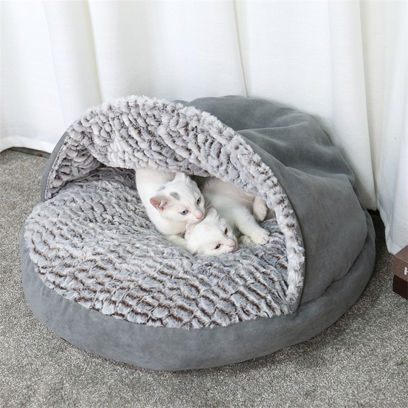 Grey Slipper Pouch Plush Cat Bed  | CatToyz.com | Shop Cat Toys, Clothes, and Grooming Supplies