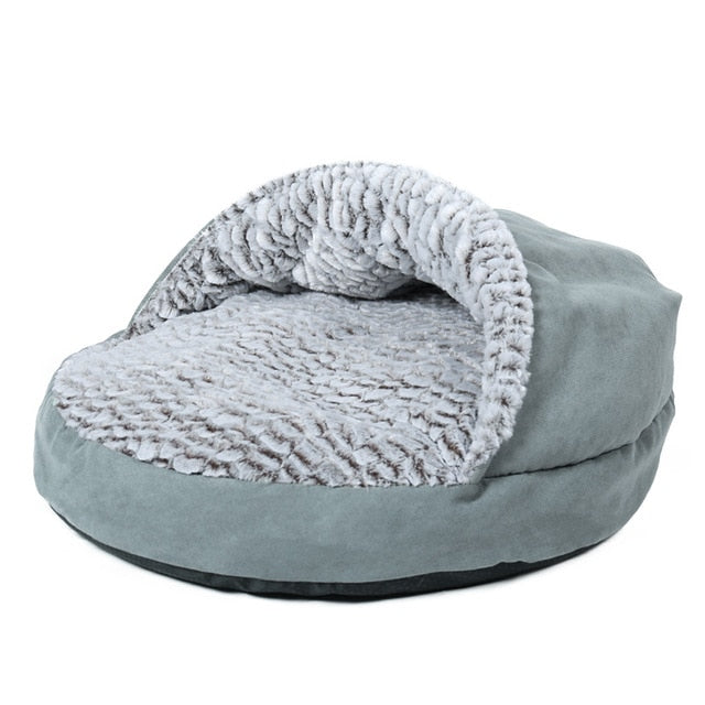 Grey Slipper Pouch Plush Cat Bed Silver / M / China | CatToyz.com | Shop Cat Toys, Clothes, and Grooming Supplies