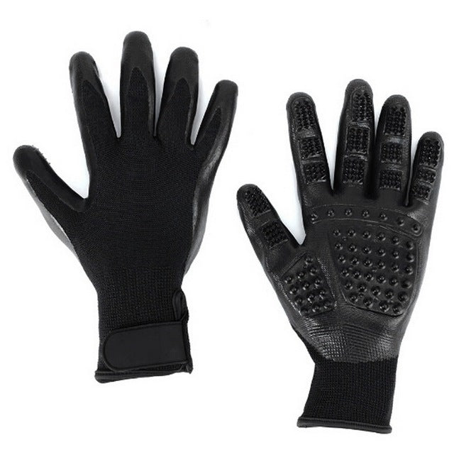 1-Cat Hair Removal & Bathing Gloves Black / M | CatToyz.com | Shop Cat Toys, Clothes, and Grooming Supplies