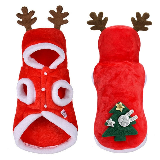 Christmas Reindeer Hoodie for Cat Red / L | CatToyz.com | Shop Cat Toys, Clothes, and Grooming Supplies