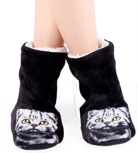3D Cat Print Boot Style Slippers Black / 39 | CatToyz.com | Shop Cat Toys, Clothes, and Grooming Supplies