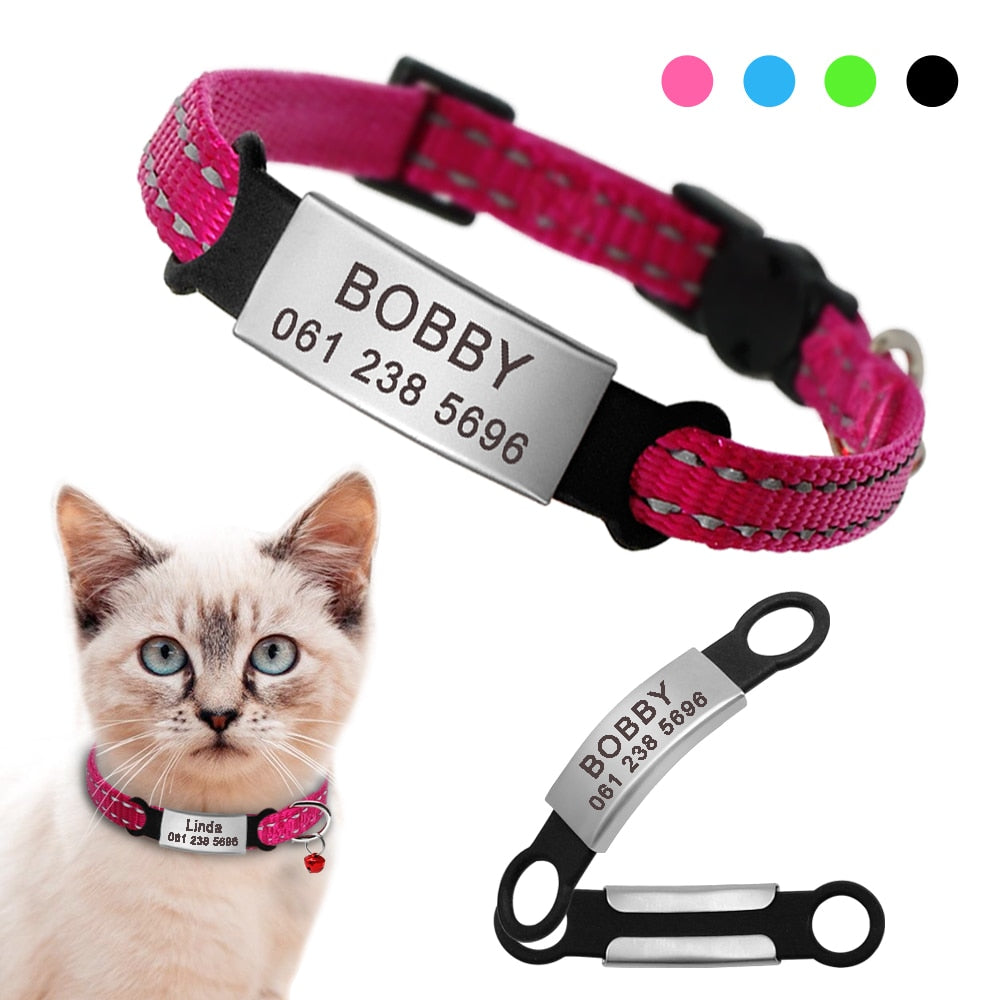 Personalized Reflective Nylon Cat Collar With Name ID Tag  | CatToyz.com | Shop Cat Toys, Clothes, and Grooming Supplies