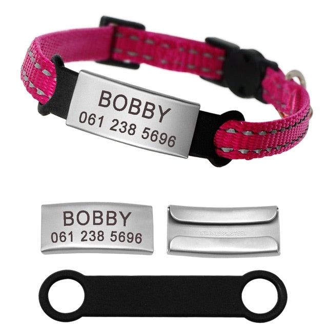 Personalized Reflective Nylon Cat Collar With Name ID Tag Pink / XS | CatToyz.com | Shop Cat Toys, Clothes, and Grooming Supplies