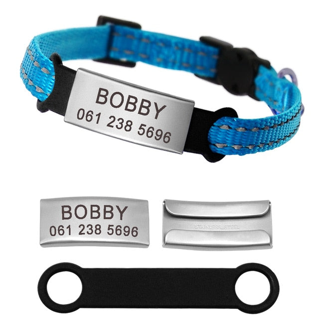 Personalized Reflective Nylon Cat Collar With Name ID Tag Blue / XS | CatToyz.com | Shop Cat Toys, Clothes, and Grooming Supplies