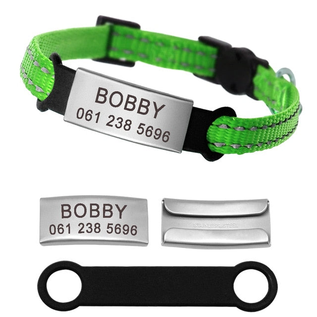 Personalized Reflective Nylon Cat Collar With Name ID Tag Green / XS | CatToyz.com | Shop Cat Toys, Clothes, and Grooming Supplies