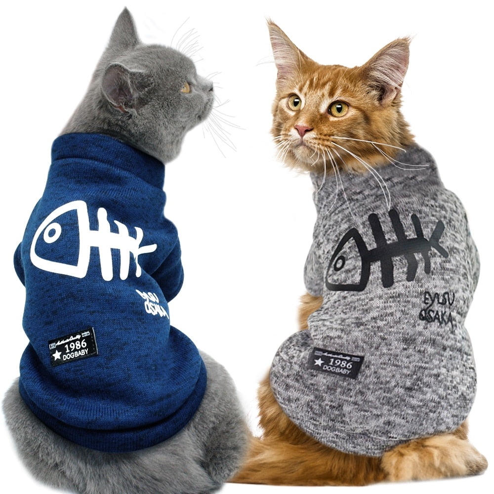 Cat Sweater with Fish Pattern in Blue or Grey  | CatToyz.com | Shop Cat Toys, Clothes, and Grooming Supplies