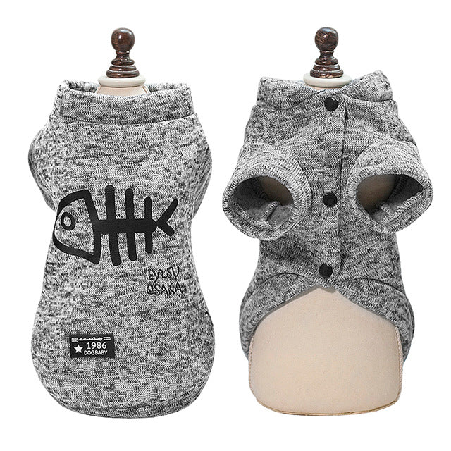 Cat Sweater with Fish Pattern in Blue or Grey Gray / XXL | CatToyz.com | Shop Cat Toys, Clothes, and Grooming Supplies