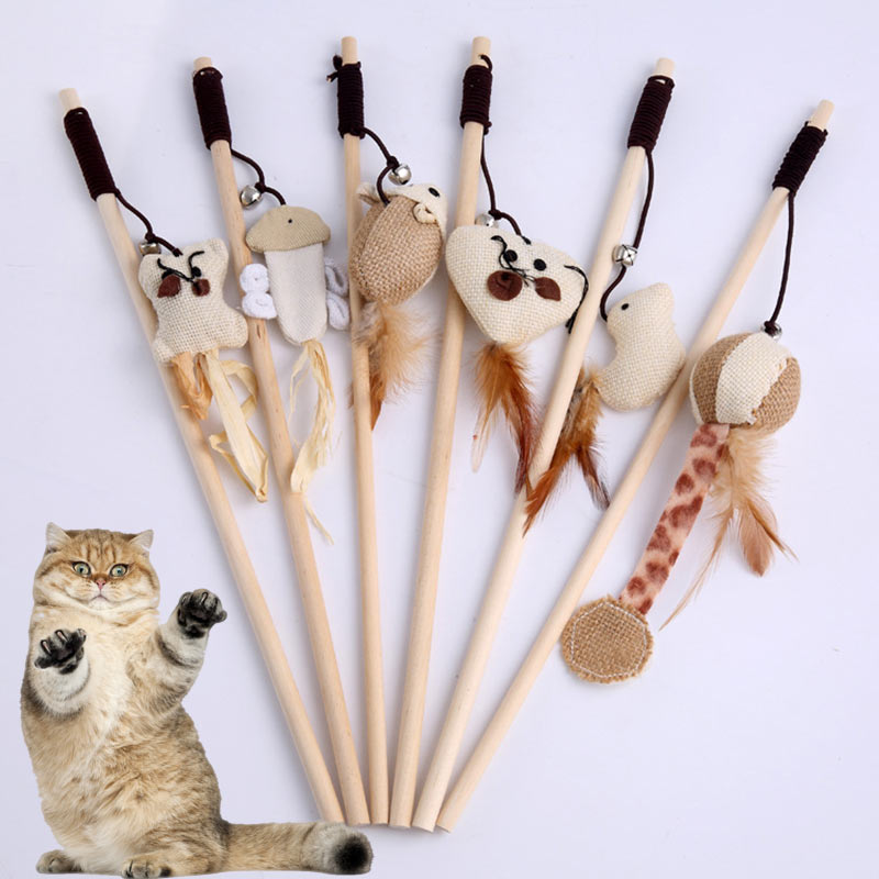 Wooden Stick with Feathered Teaser Toy on String  | CatToyz.com | Shop Cat Toys, Clothes, and Grooming Supplies