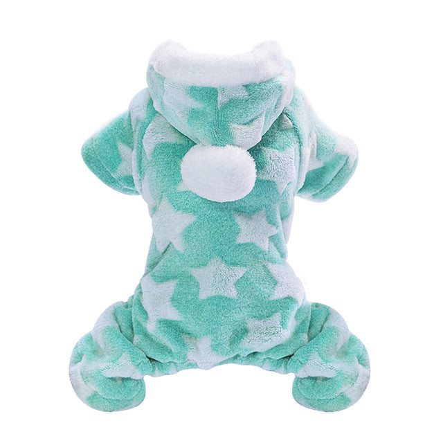 Soft Cat Winter Jumpsuit Coat with Star Print and PomPom on Hood Green / 2XL | CatToyz.com | Shop Cat Toys, Clothes, and Grooming Supplies